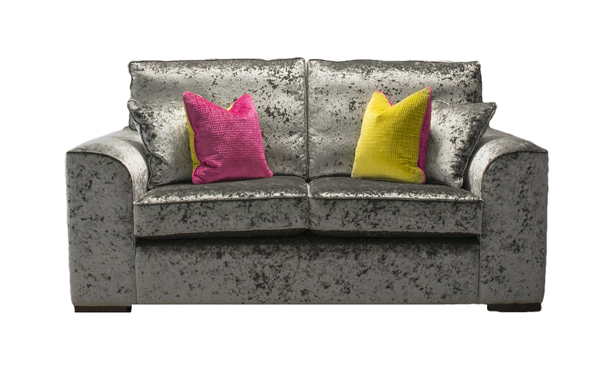 Leon 2 Seater Sofa in Bling Pewter, Gold Collection Fabric