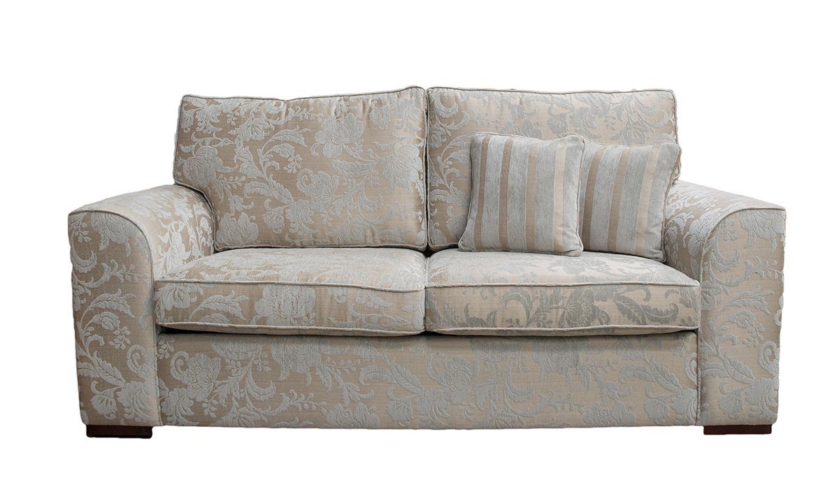 Leon 3 Seater Sofa in Burton Pattern Mist, Silver Collection Fabric