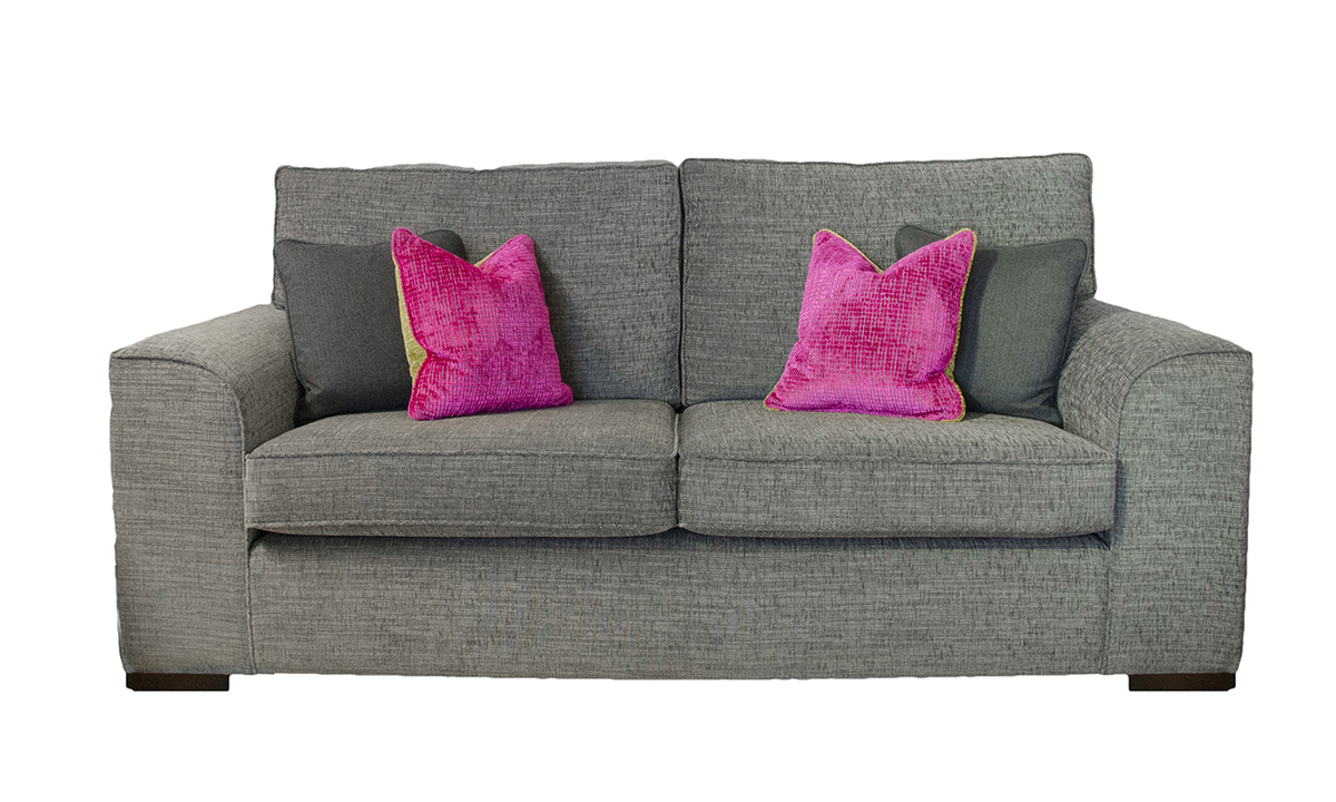 Leon 3 Seater Sofa in Corrine Charcoal, Bronze Collection Fabric