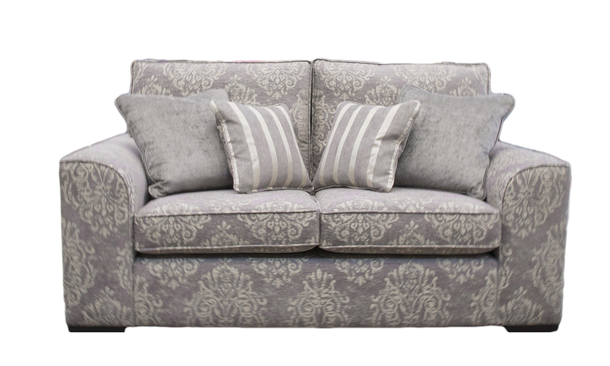 Leon 2 Seater Sofa in Reflex Pattern, Silver Collection Fabric
