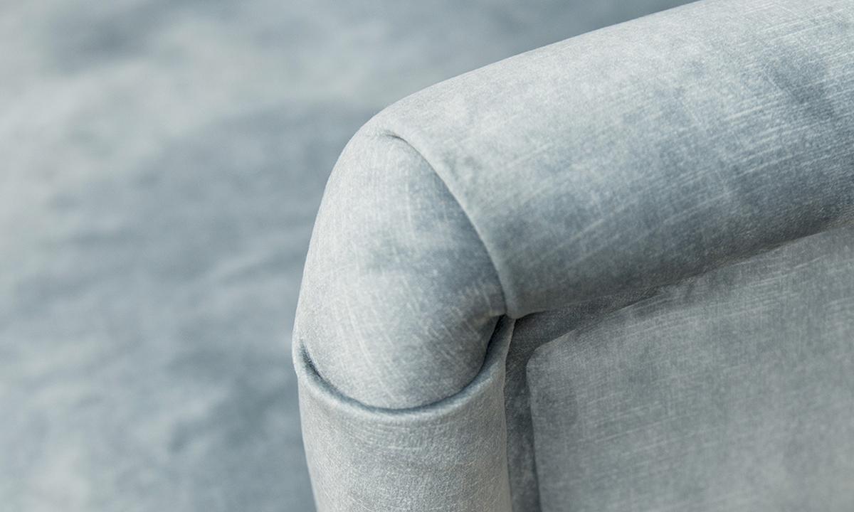 Aisling Chair Arm Detail in Lovely Aqua, Gold Collection Fabri