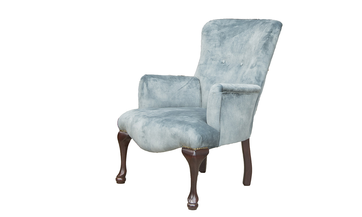 Aisling Chair in Lovely Aqua, Gold Collection Fabri