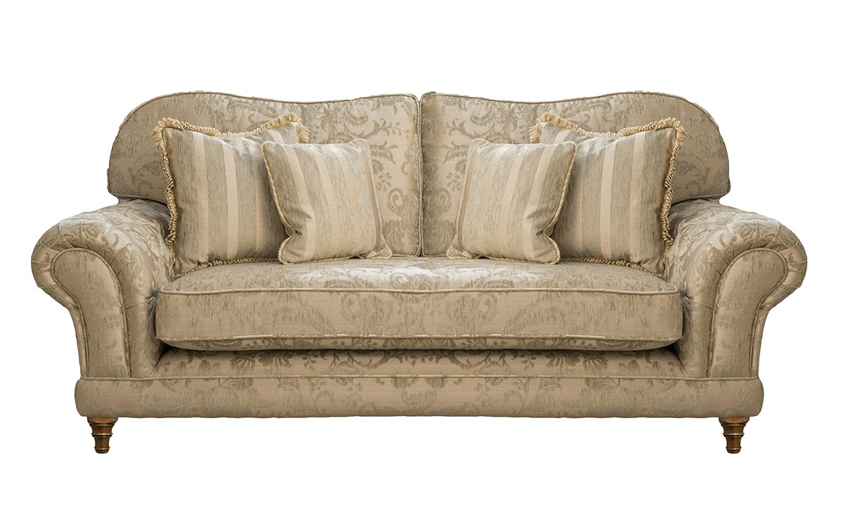 Alexandra 3 Seater Sofa with a bench seat (bespoke option) in Burton Pattern Champagne Silver Collection Fabric