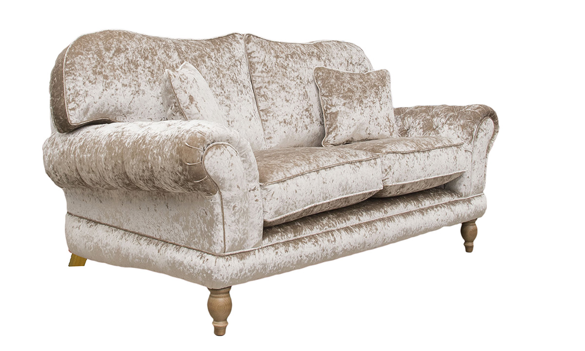 Alexandra 2 Seater Sofa with Deep Button Arms (bespoke option)  in Bling, Silver Collection Fabric