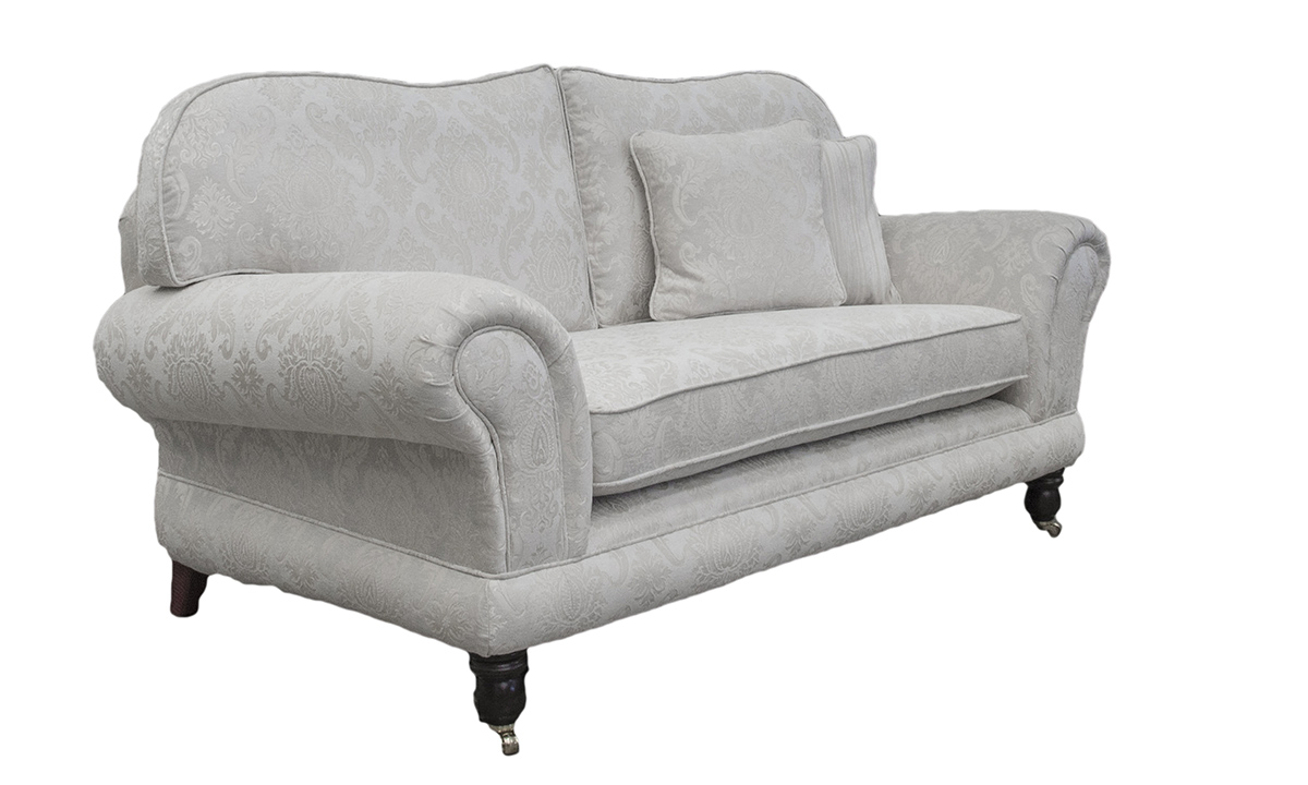 Alexandra 2 Seater Sofa with Bench Seat  (bespoke option)  in Tolstoy Pattern Snow, Platinum Collection Fabric