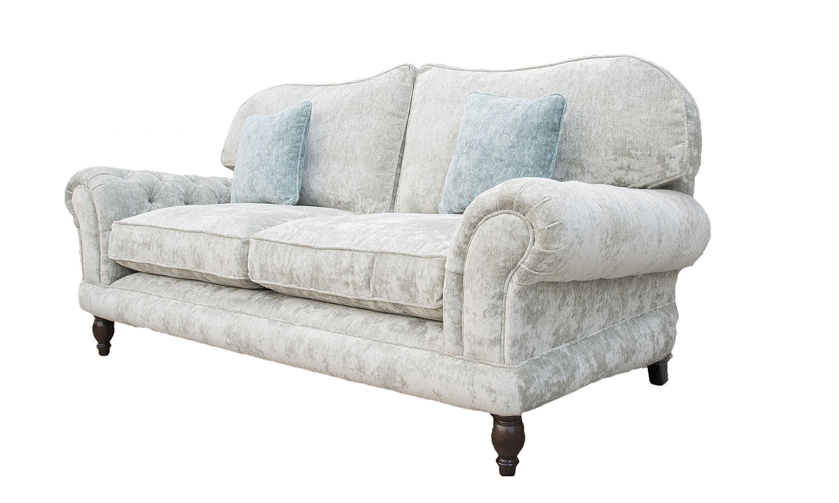 Alexandra 3 Seater Sofa with Deep Button Arms (bespoke option) in Opulence Silver 12376