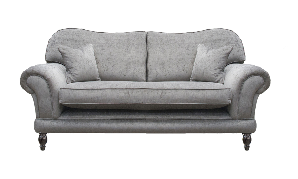 Alexandra 3 Seater Sofa with a Bench Seat  (bespoke option) in a Silver Collection Fabric