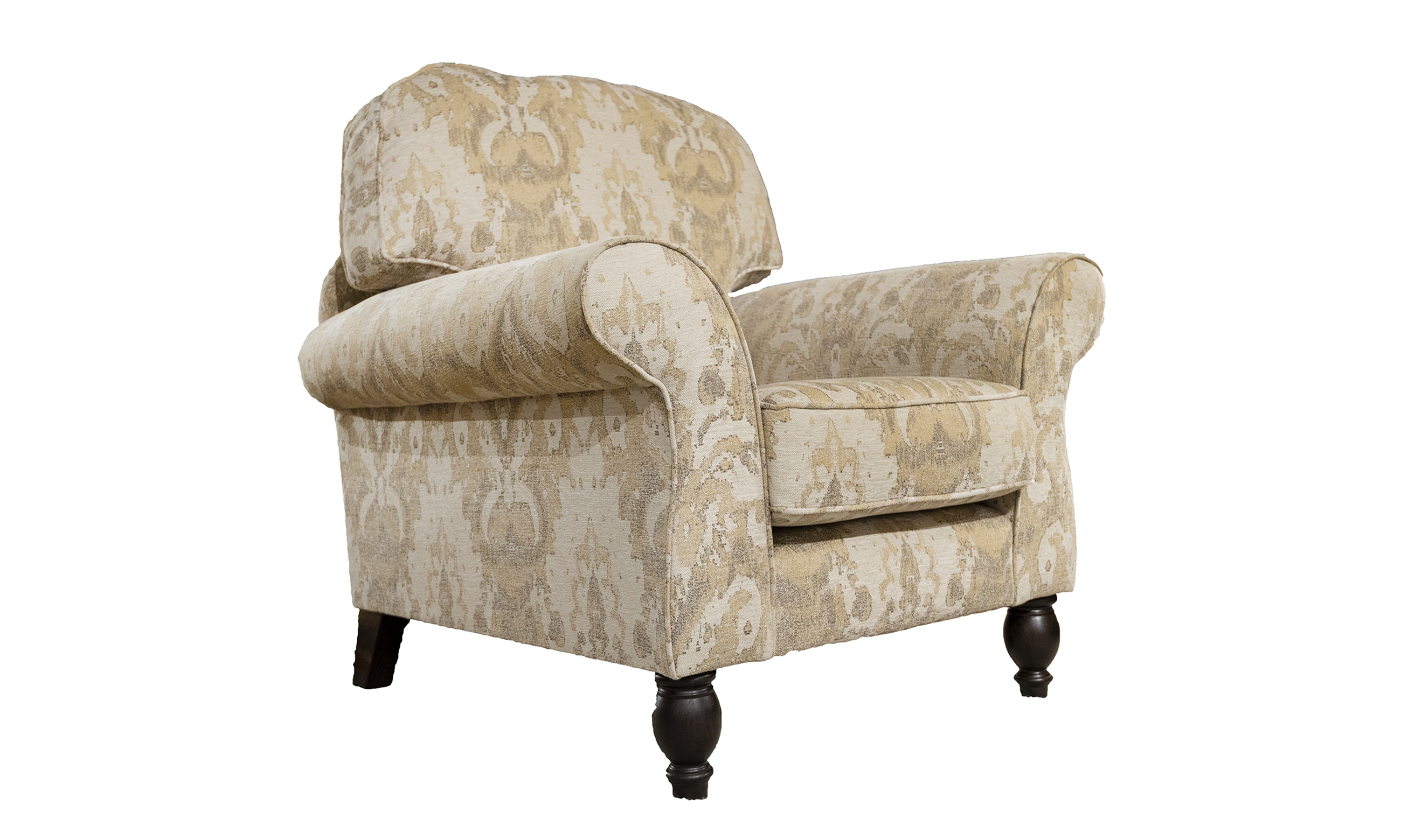 Ascot Chair in fresco Pattern Oatmeal Silver Collection Fabric