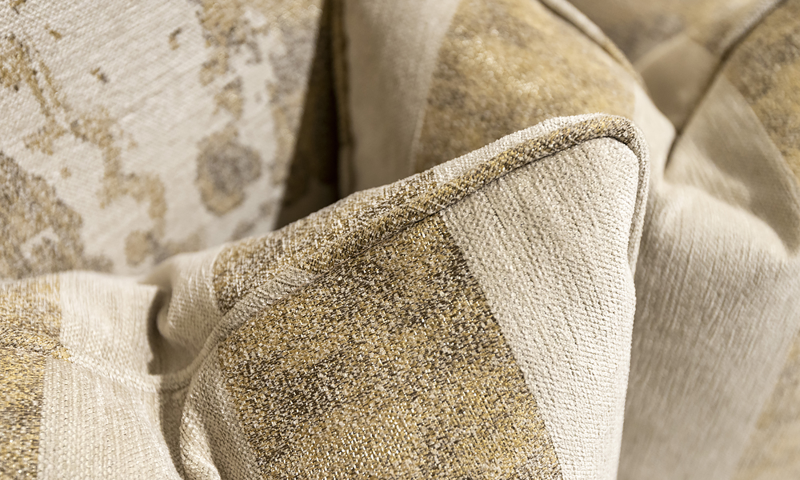 Scatter Cushion in Fresco Pattern Oatmeal Silver Collection Fabric