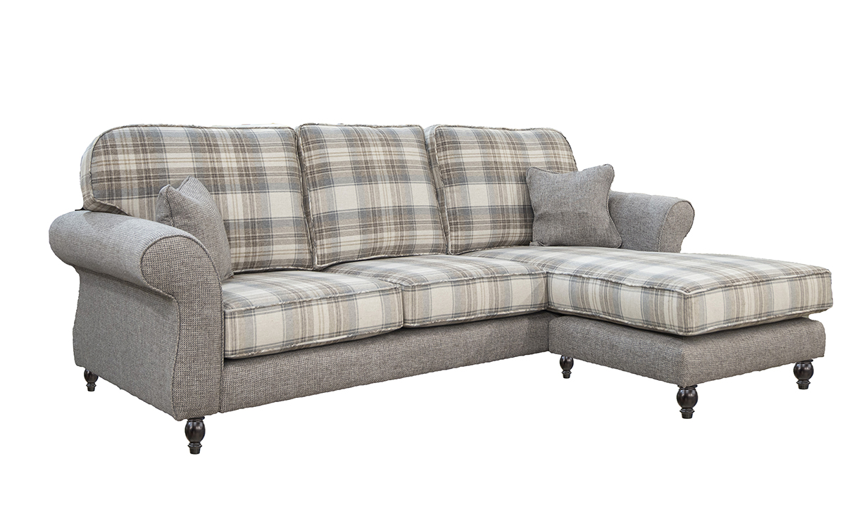 Aslan Bespoke Chaise End Sofa in Aviemore Plaid and Milwaukee Grey