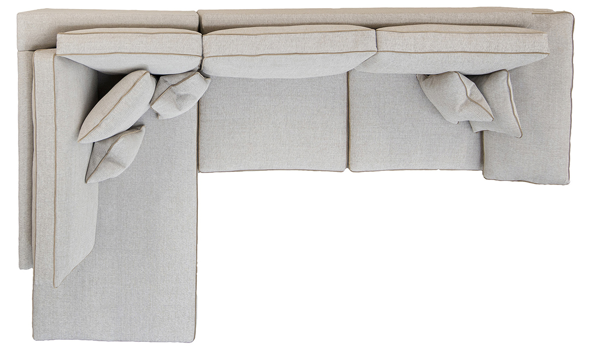 Atlas Corner Chaise Sofa Top View in Orca Plain ow258, Silver Collection Fabric