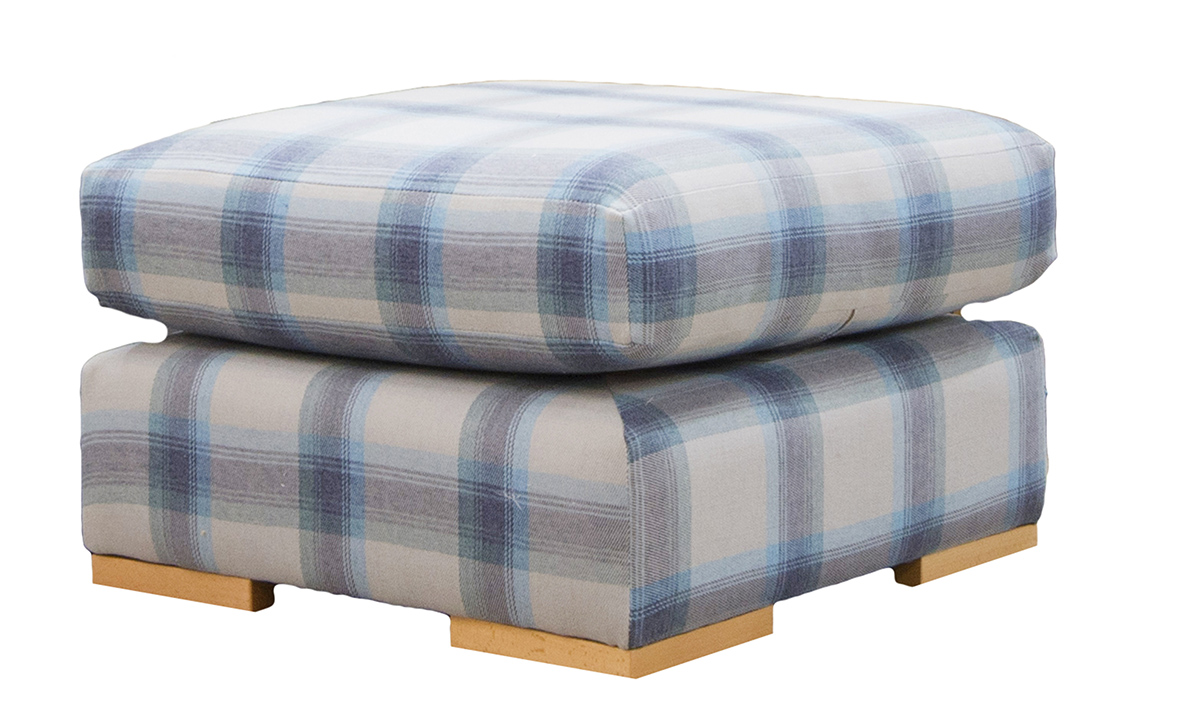 Colorado Footstool in Aviemore Plaid Wedgewood, Silver Collection Fabric
