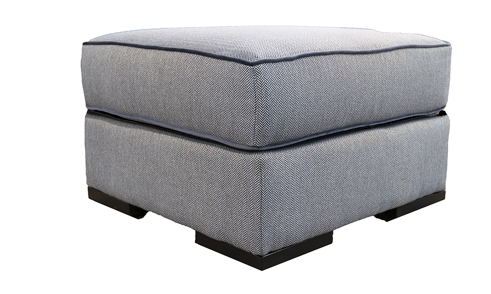 Atlas Footstool in Porto Charcoal, Silver Collection Fabric