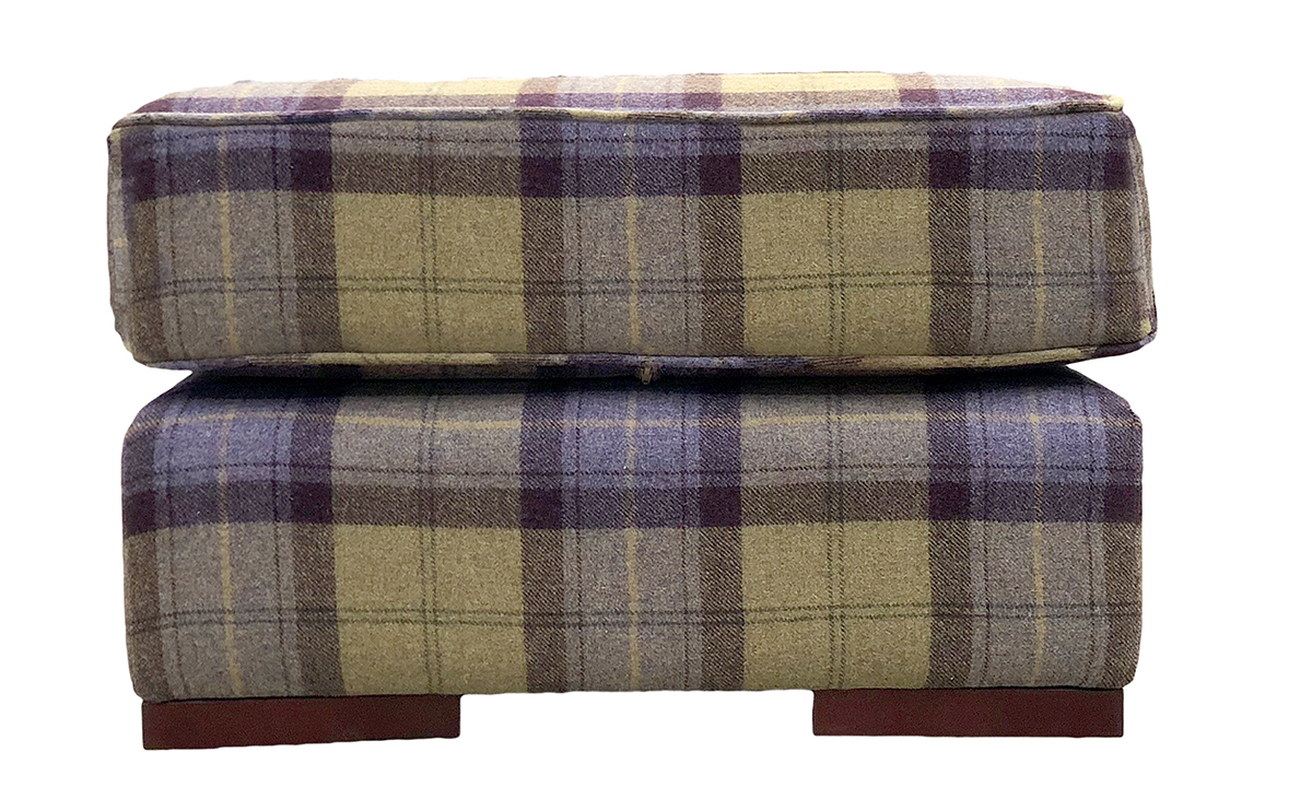 Atlas Footstool in Wool Plaid Blackberry Crumble, Platinum Collection Fabric