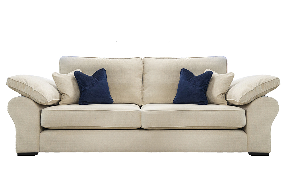 Atlas 3 Seater Sofa in Frank Plain Mist, Silver Collection Fabric
