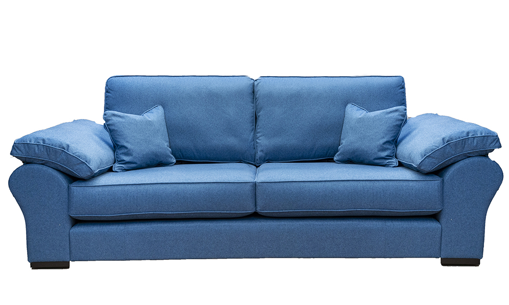 Atlas 3 Seater Sofa in Tweed Navy, Silver Collection Fabric