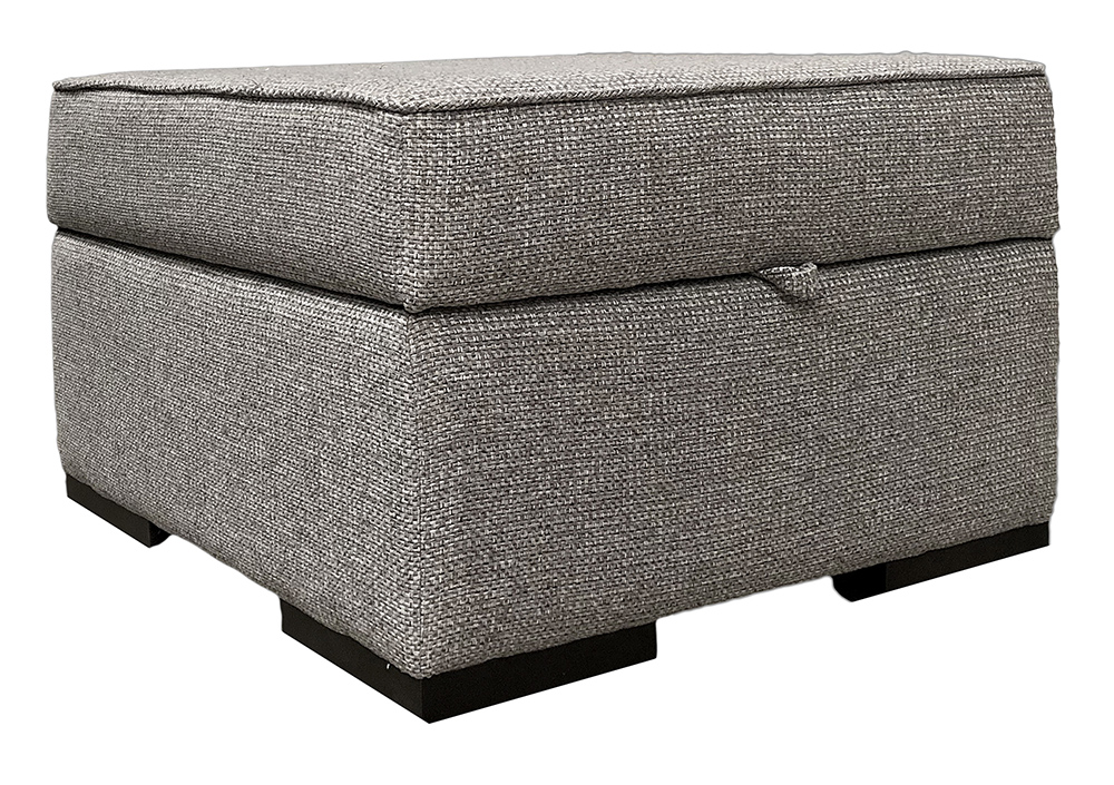 Atlas Storage Footstool in Milwaukee Grey Bronze Collection Fabric