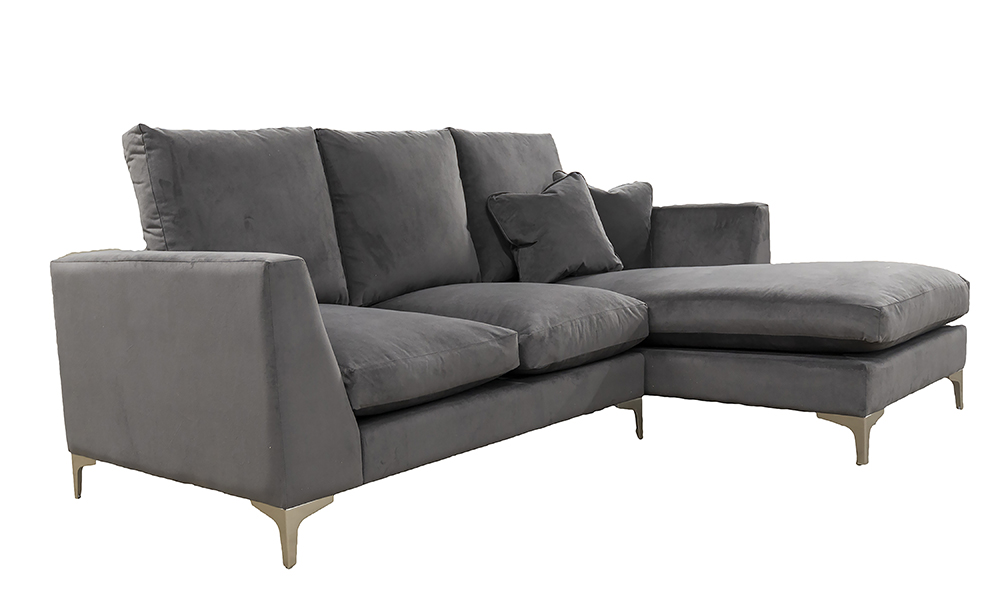 Baltimore 2 Seater Lounger, Plush Nickel, Silver Collection Fabric, High Back, Feather Quilt Seat Cushions, 519246