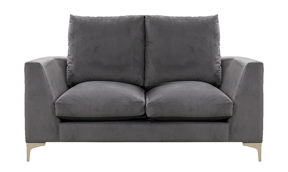 Baltimore 2 Seater Sofa, Plush Nickel, Silver Collection Fabric, High Back, Feather Quilt Seat Cushions, 519246