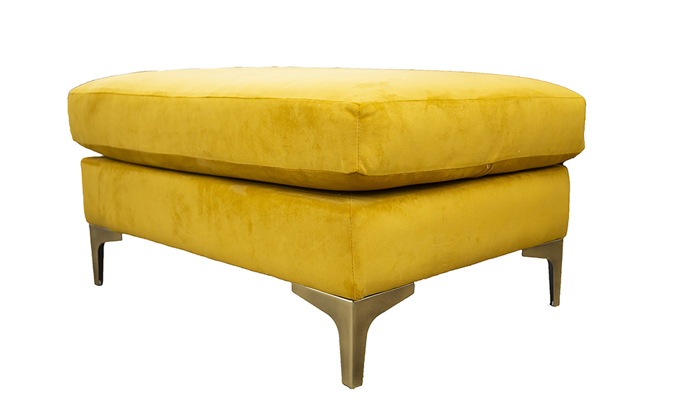 Baltimore Footstool in Plush Turmeric, Gold Collection Fabric
