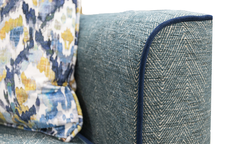 Boland Arm Detail Herringbone, Piped in Plush Indigo, Silver Collection Fabric - 405629