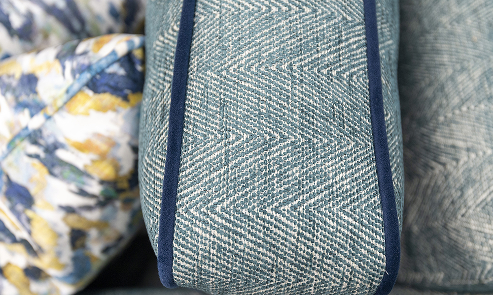 Boland Deatil in Loisa Herringbone, Piped in Plush Indigo, Silver Collection Fabric - 405629
