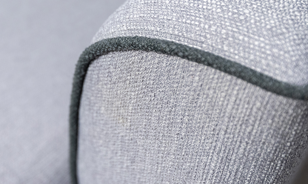 Boland Detail in Aosta Silver, Piped in Aosta Charcoal Silver Collection Fabric
