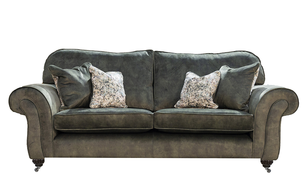 Capella 3 Seater Sofa (Without Arm Pleating )in Lovely Jade, Gold Collection Fabric