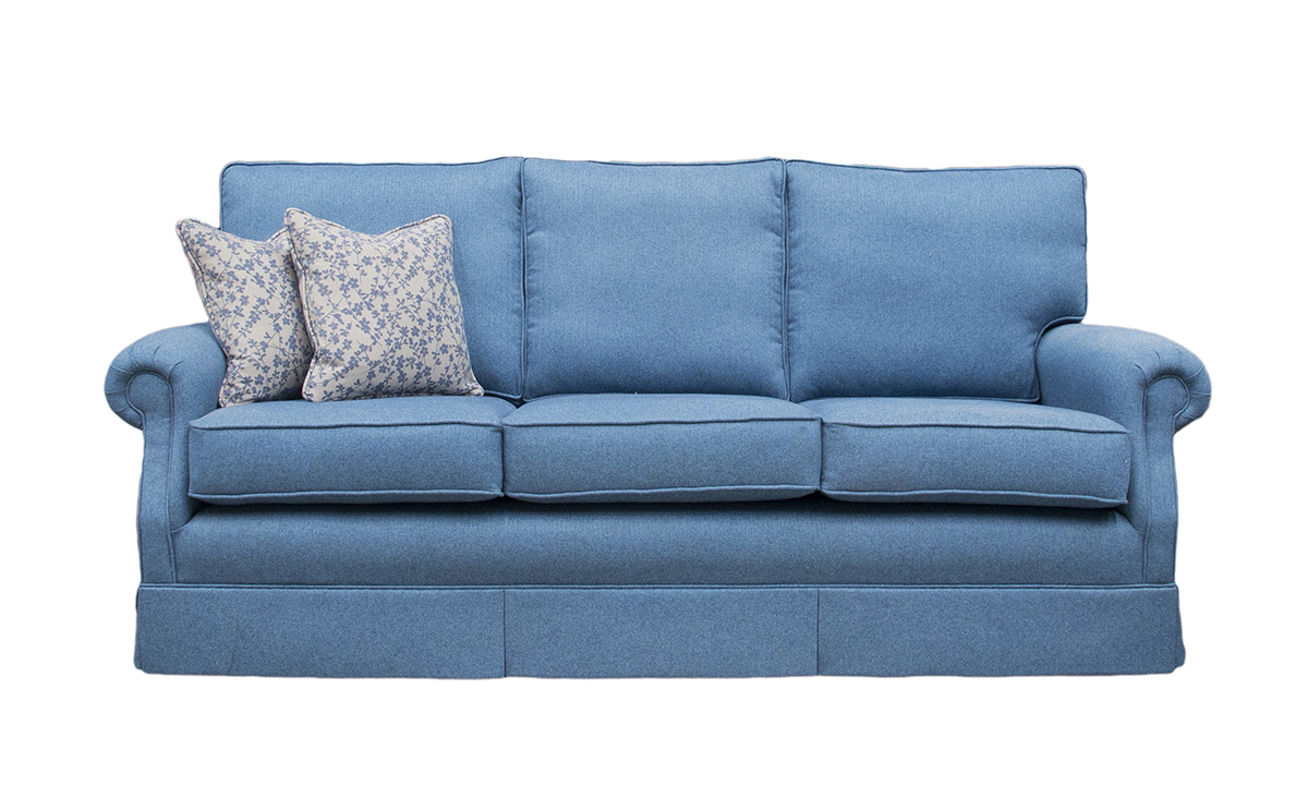 Clare 3 Seater Sofa in Tweed Navy, Silver Collection Fabric