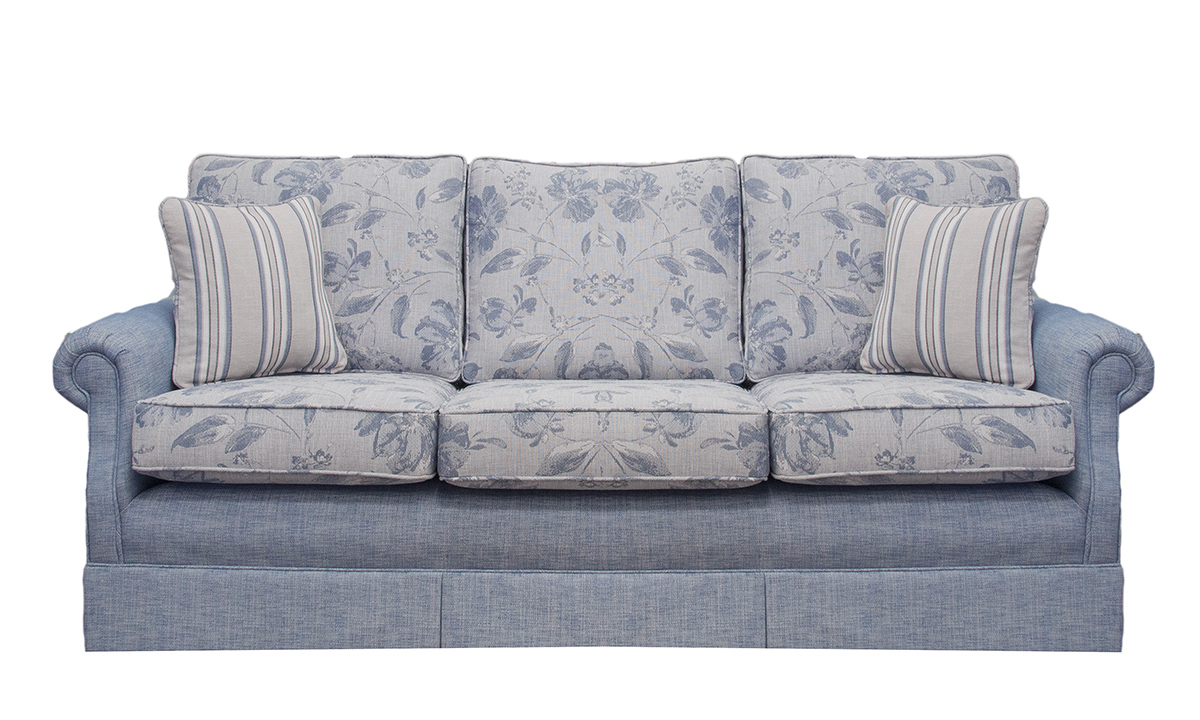 Clare 3 Seater Sofa in Volkan Pattern & Plain, Silver Collection Fabric