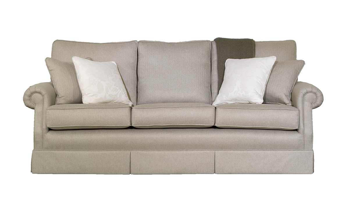 Clare 3 Seater Sofa in McKenzie , Silver Collection Fabric