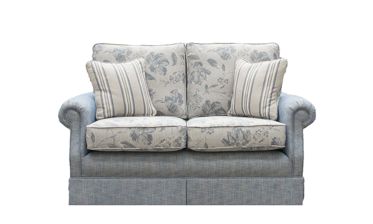 Clare 2 Seater Sofa in Volkan Pattern & Plain, Silver Collection Fabric