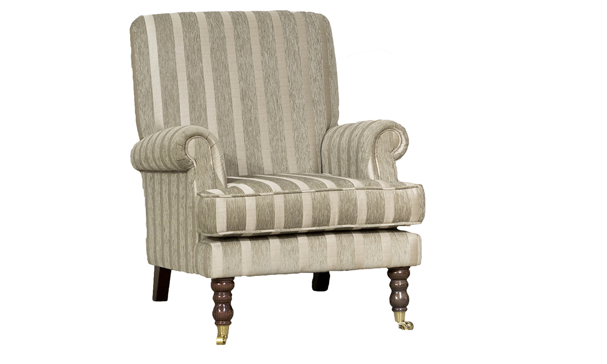 Cleary Chair in Burton Stripe Champagne, Silver Collection Fabric