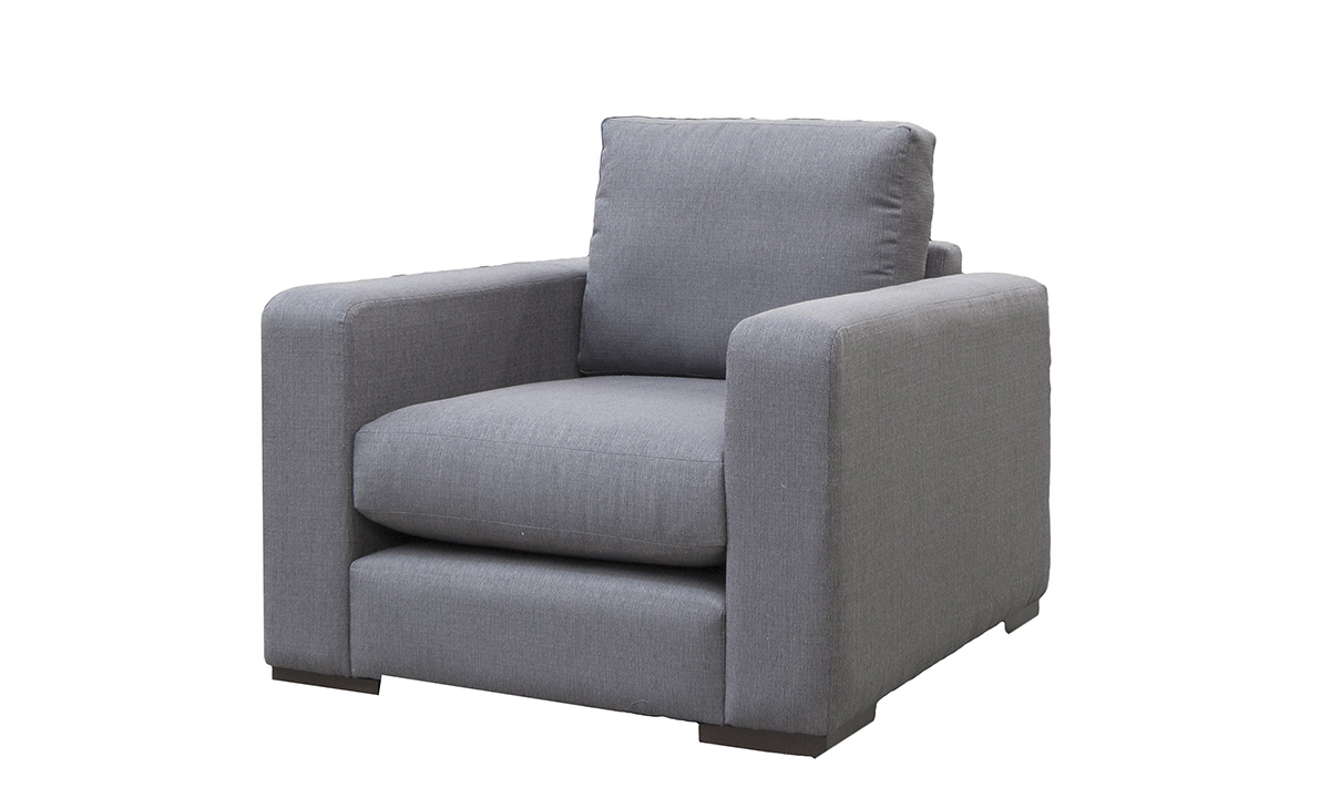 Collins Chair Side in Aosta Charcoal, Silver Collection Fabric