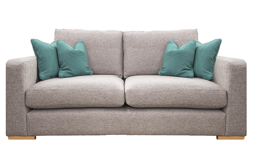 Collins 2 Seater Sofa in Milwaukee Grey, Bronze Collection of Fabrics