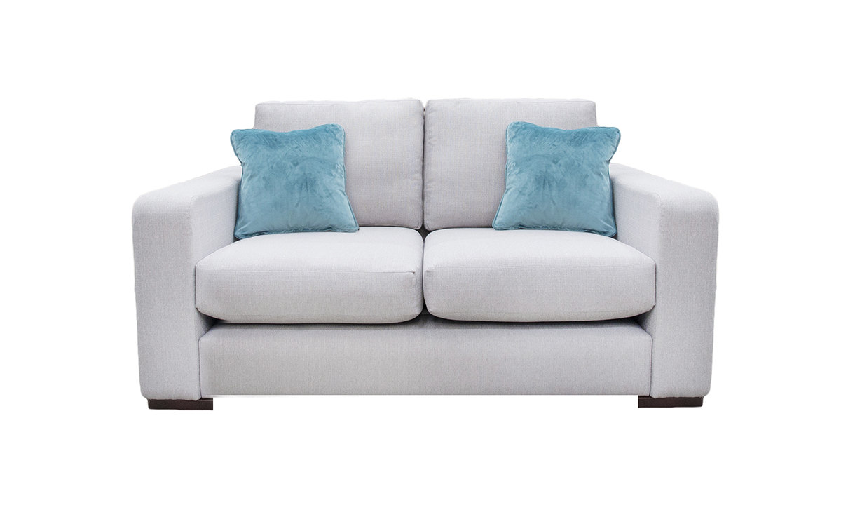 Collins 2 Seater Sofa in Aosta Silver, Silver Collection Fabric