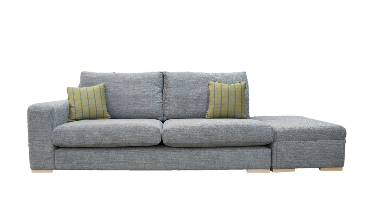 Collins 2 Seater Sofa with 1 Arm & Island in Corrine Charcoal, Bronze Collection Fabric