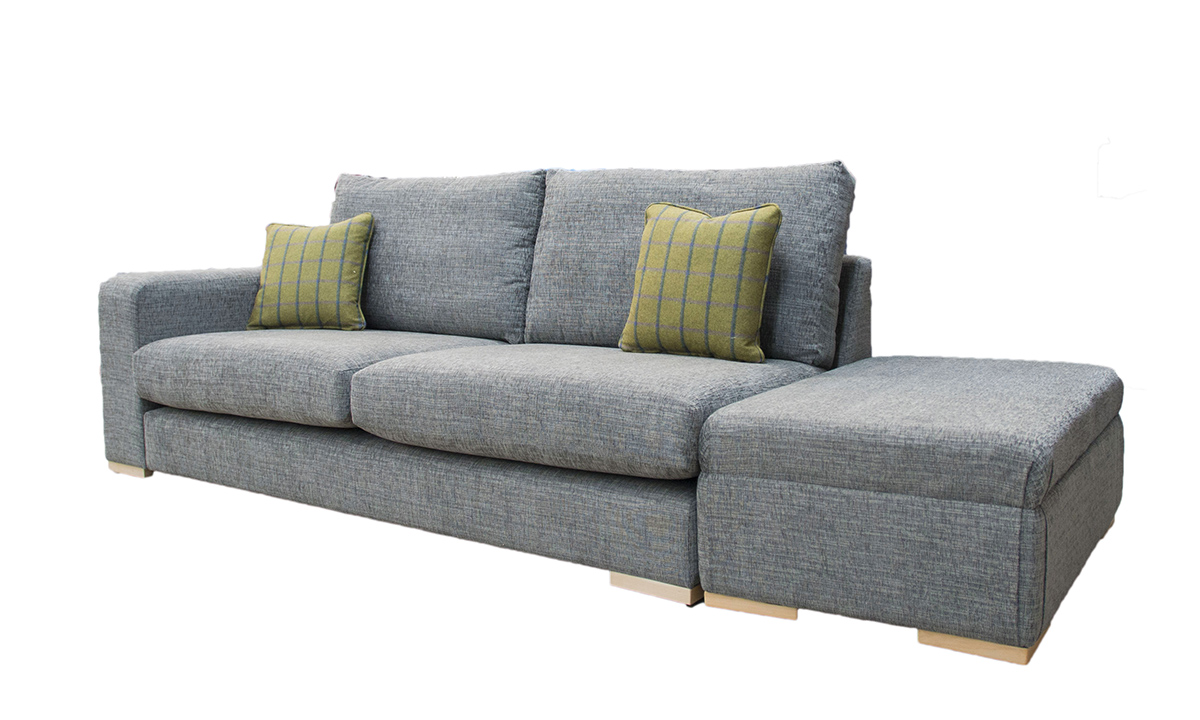 Collins 2 Seater Sofa 1 Arm & Island in Corrine Charcoal, Bronze Collection Fabric