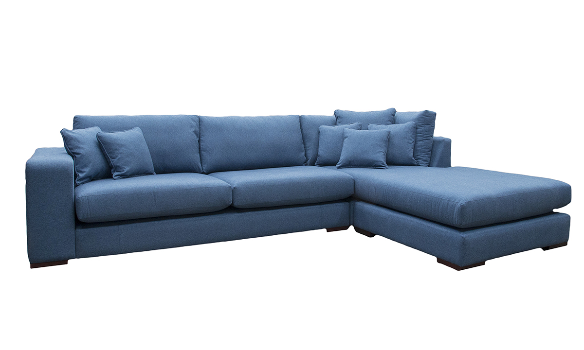 Colorado Chaise Sofa in Tweed Navy, Silver Collection Fabric