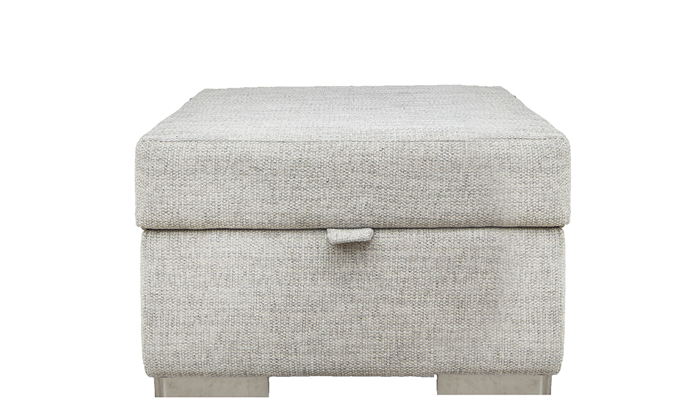 Colorado Storage Footstool in Bravo Cream Linen, Silver Collection of Fabrics