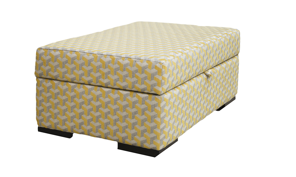 Colorado Storage Footstool in Levonne mustard, Silver Collection Fabric