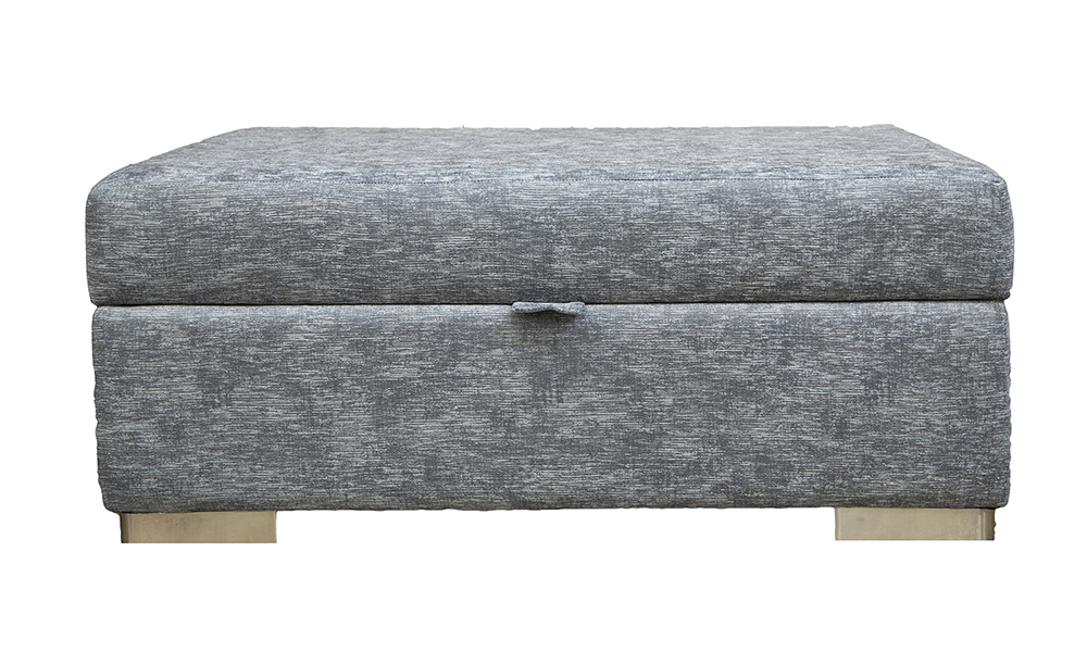 Colorado Storage Footstool in Dagano Plain Noir, Bronze Collection Fabric