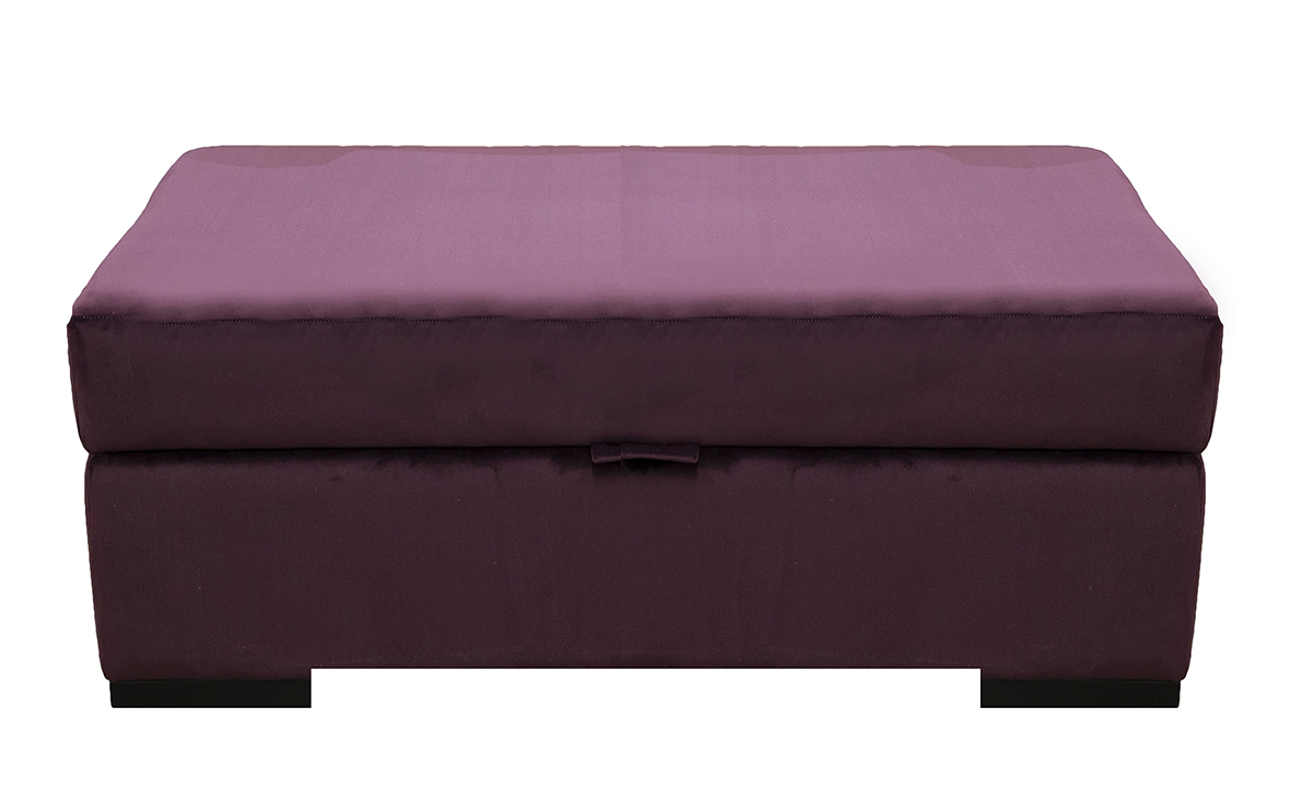 Colorado Storage Footstool in Luxor Aubergine, Silver Collection Fabric