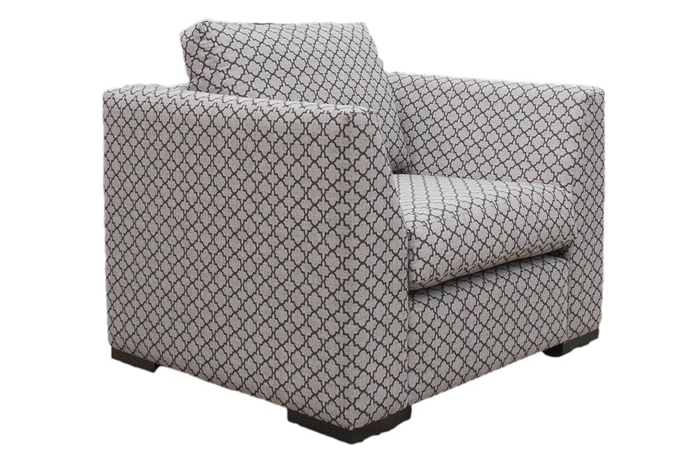 Como Chair in Digital Trellis Jet, Silver Fabric Collection