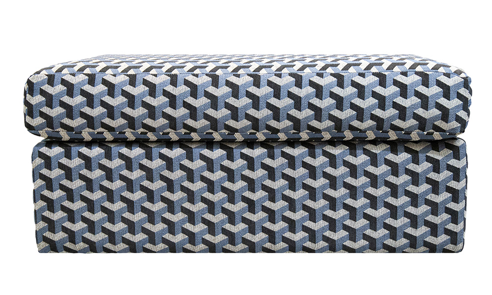 Como Island Footstool in Levonne Navy, Silver Collection Fabric