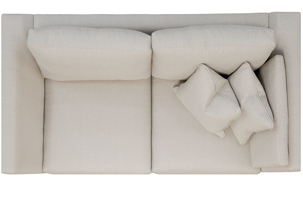 Como Small Sofa Top View in Aosta Linen Silver Collection Fabric