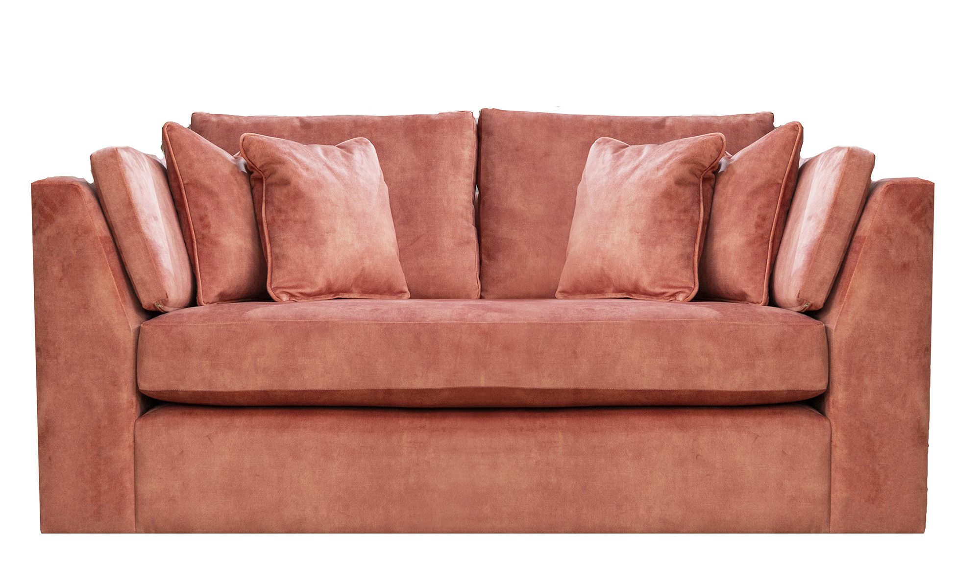 Como 2 Seater Sofa in Lovely Coral, Gold Collection Fabric