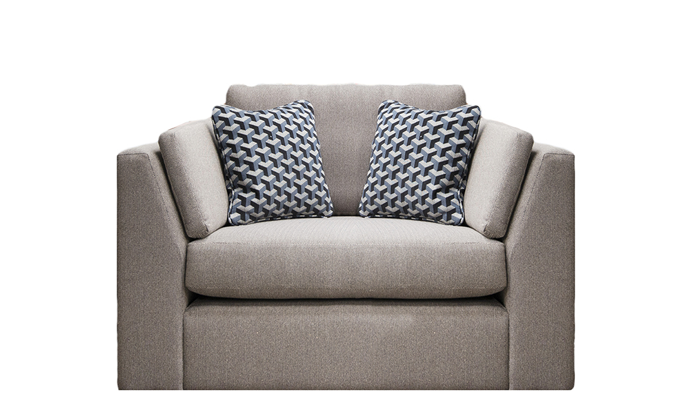 Como Love Seat in Porto Caramel., Silver Collection Fabric