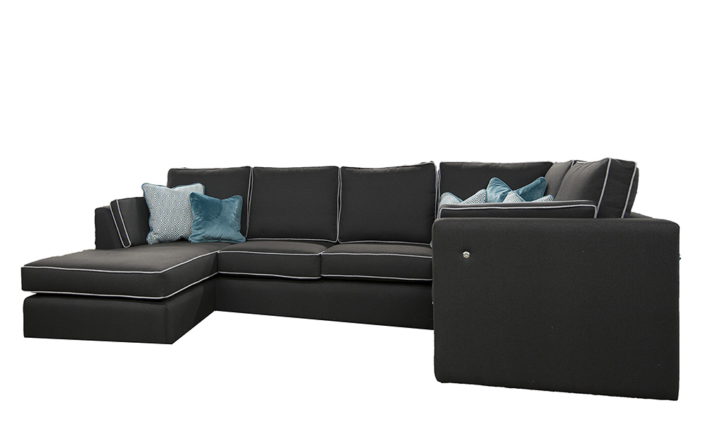 Bespoke Como Corner Chaise end sofa in Dundee Ebony with USB port arms