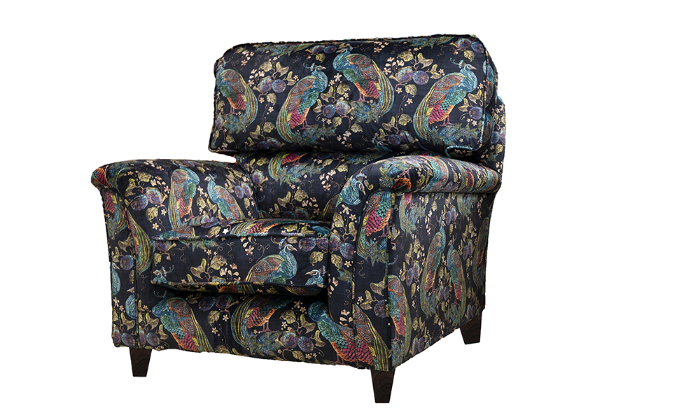 Cumbria Chair in Peacock Navy, Platinum Collection Fabric
